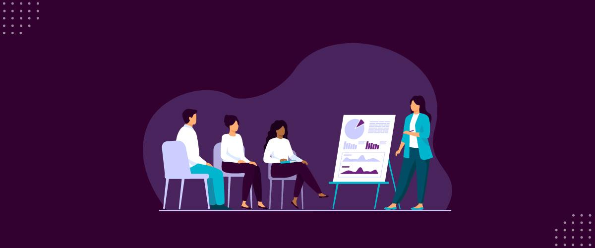Ilustração mostrando treinamento de equipe em LGPD.