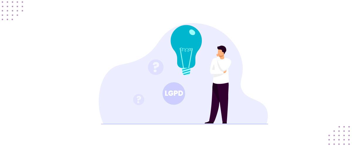 Ilustração mostrando uma pessoa com dúvidas sobre a LGPD.