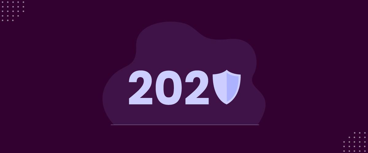 Ilustração mostrando a relação do ano de 2020 com a proteção de dados pessoais.