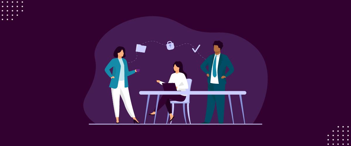 Ilustração mostrando pessoas em escritório rodeadas de elementos relacionados à adequação.